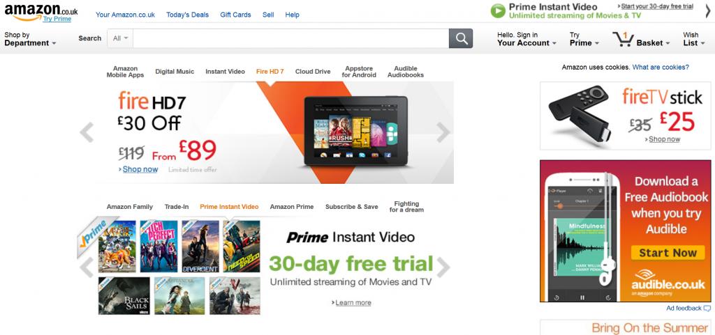 Amazon's homepage