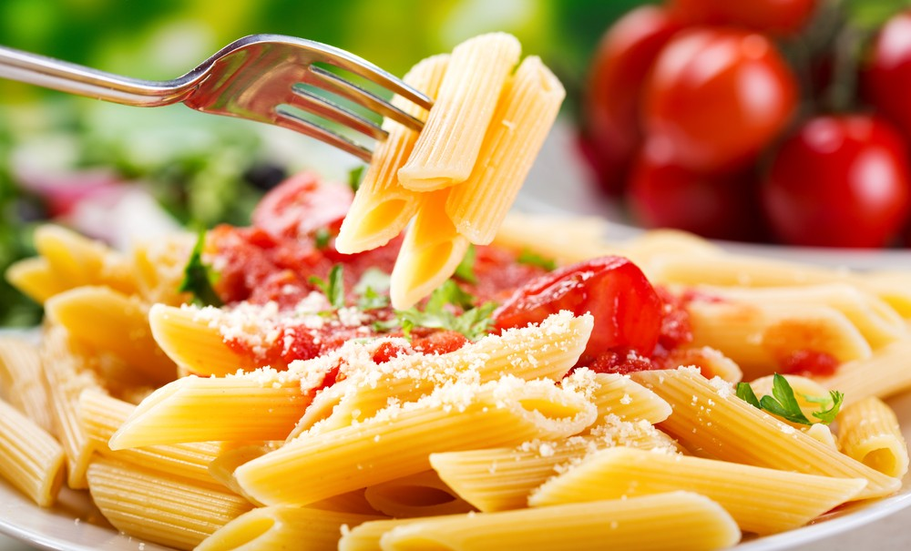 plate of pasta with freshly made tomato sauce