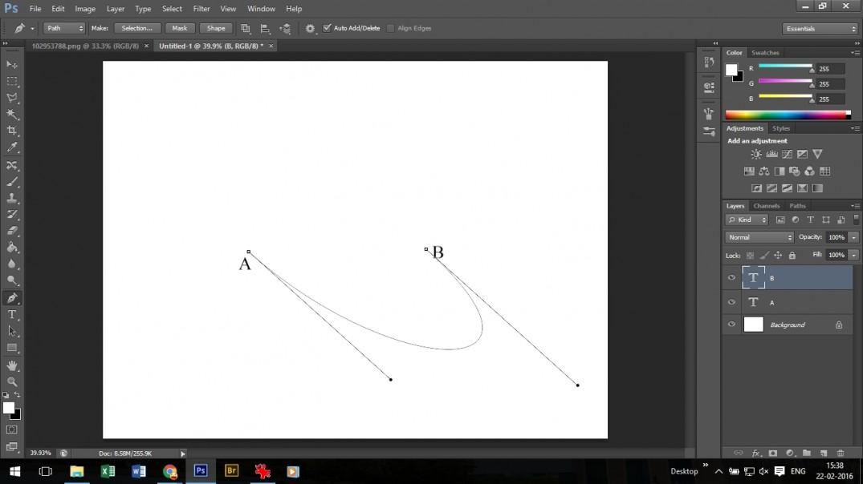 diagonal curve using pen tool