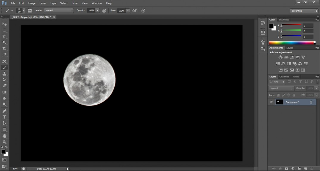 open picture from raw to photoshop workspace