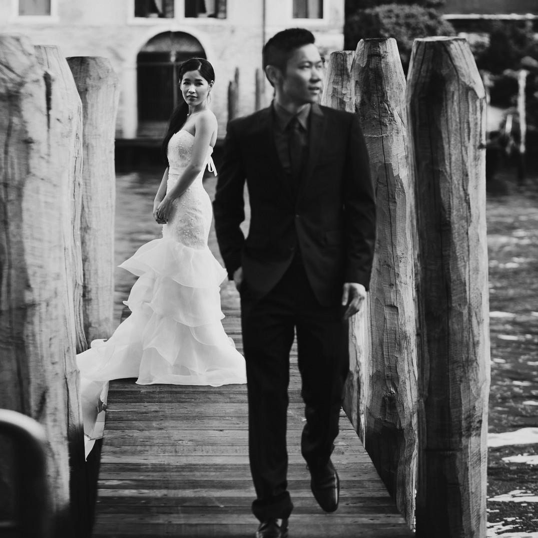 dramatic black and white wedding